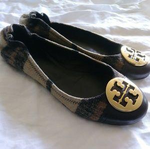 Tory Burch Serena 2 flats size 8 Wool plaid Women